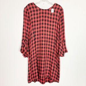 Anthropolgie | red & black gingham dress bell M